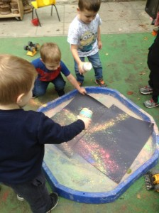 Making bright pictures using powder paint to represent the bright colours of Diwali.