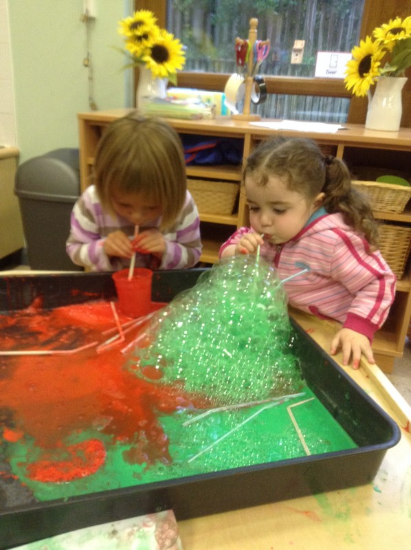 Blowing bubbles to make some pictures.
