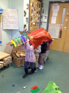 A dragon came to visit us to help us celebrate.